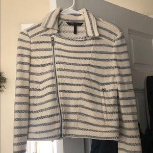 BCBG soft cropped moto jacket sweater